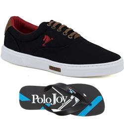 Kit 1 Tênis Casual e 1 Chinelo Polo Joy Preto - 20... - Prime Store Calçados