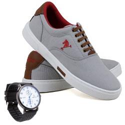 Kit Sapatênis Polo Joy Lona Com Relógio Cinza - 2... - Prime Store Calçados