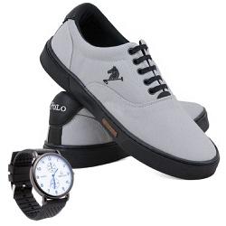 Kit Sapatênis Polo Joy Lona Com Relógio Cinza com ... - Prime Store Calçados