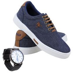Kit Sapatênis Polo Joy em Lona Com Relógio Jeans ... - Prime Store Calçados