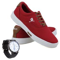 Kit Sapatênis Polo Joy Lona Com Relógio Vermelho -... - Prime Store Calçados