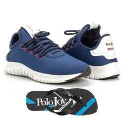 Kit Tênis Masculino Polo Joy Sport Com Chinelo Azu... - Prime Store Calçados