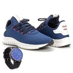 Kit Tênis Masculino Polo Joy Sport Com Relógio Azu... - Prime Store Calçados
