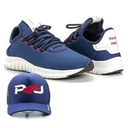 Kit Tênis Masculino Polo Joy Sport Com Boné Azul E... - Prime Store Calçados