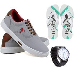 Kit Sapatenis Casual C/ Chinelo e relógio Polo Joy... - Prime Store Calçados