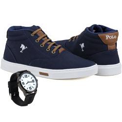 Bota Sapatênis Polo Joy Com Relógio Azul Marinho -... - Prime Store Calçados
