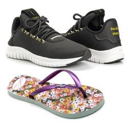 Kit Tênis Têxtil Mesh Elástic + Chinelo Color Femi... - Prime Store Calçados