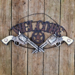 Placa decorativa Classic Welcome Pistola - 15164 - PROTEC HORSE - A LOJA DOS GRANDES CAMPEÕES