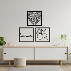 Kit 3 Esculturas de Parede | Decoração Love Amor +... - Q! Bacana