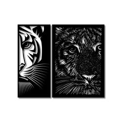 Kit Esculturas de Parede Tigres - Q! Bacana