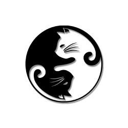 Escultura de Parede Gatinhos Yin Yang - Q! Bacana