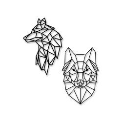 Kit Esculturas de Parede Lobos Geométricos - Q! Bacana
