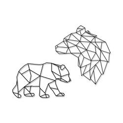 Kit Esculturas de Parede Ursos Geométricos - Q! Bacana