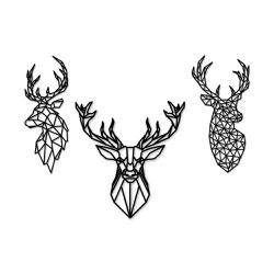 Kit Esculturas de Parede Cervos Geométricos - Q! Bacana