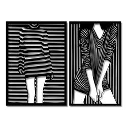 Kit Esculturas de Parede Mulher Vestido Listrado - Q! Bacana