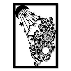 Escultura de Parede Mulher Lua Flores - Q! Bacana