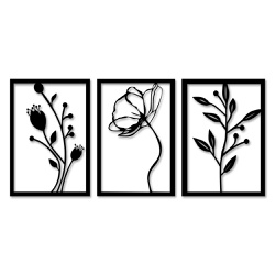 Kit Esculturas de Parede Flores - Q! Bacana