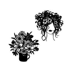 Kit Esculturas de Parede Mulher Flores - Q! Bacana