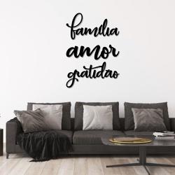 Kit Palavras de Parede Família Amor Gratidão - Q! Bacana