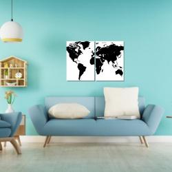 Kit 2 Placas Decorativas Mapa Mundi - Q! Bacana