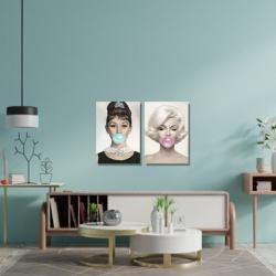 Kit 2 Placas Decorativas Audrey e Marilyn - Q! Bacana