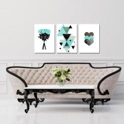 Kit 3 Placas Decorativas Flor Coração Geométrico T... - Q! Bacana