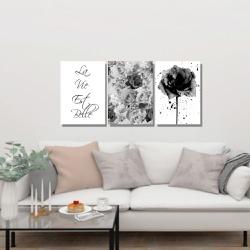 Kit 3 Placas Decorativas Rosas Preto e Branco - Q! Bacana
