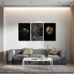 Kit 3 Placas Decorativas Flor Dourada - Q! Bacana