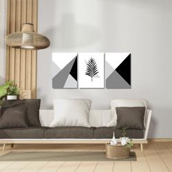 Kit 3 Placas Decorativas Ramo Preto e Branco Geomé... - Q! Bacana