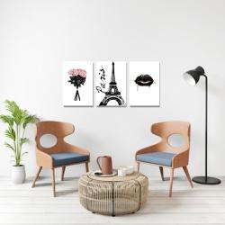 Kit 3 Placas Decorativas Rosa Paris - Q! Bacana