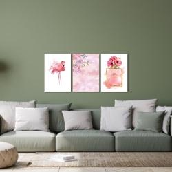 Kit 3 Placas Decorativas Flamingo Perfume - Q! Bacana