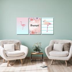 Kit 3 Placas Decorativas Flamingos Beautiful - Q! Bacana