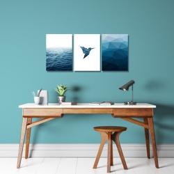 Kit 3 Placas Decorativas Pássaro Mar - Q! Bacana