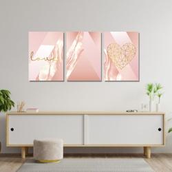 Kit 3 Placas Decorativas Love Rosa Abstrato - Q! Bacana