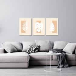 Kit 3 Placas Decorativas Folhas Minimalista - Q! Bacana