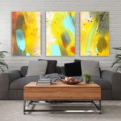 Kit 3 Placas Decorativas Abstrato Amarelo - Q! Bacana