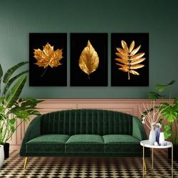 Kit 3 Placas Decorativas Folhas Douradas - Q! Bacana