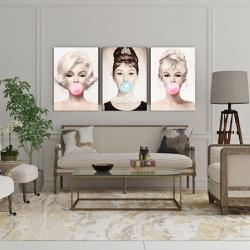Kit Quadros Decorativos Marilyn Audrey e Brigitte - Q! Bacana