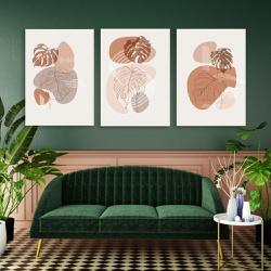 Kit 3 Placas Decorativas Folhas Abstratos - Q! Bacana
