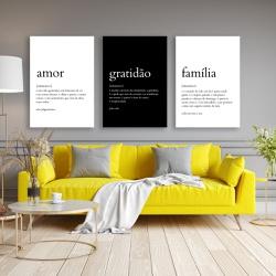 Kit Quadros Decorativos Amor Gratidão Família - Q! Bacana