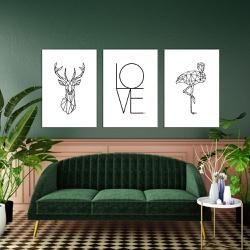 Kit Quadros Decorativos Animais Geométricos Love - Q! Bacana