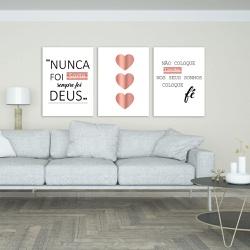 Kit 3 Placas Decorativas Sempre Foi Deus - Q! Bacana