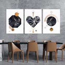 Kit 3 Placas Decorativas Coração Abstrato Pedra - Q! Bacana