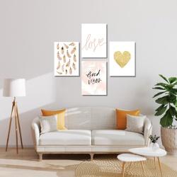 Kit 4 Placas Decorativas Love Good Vibes - Q! Bacana