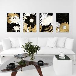 Kit Quadros Decorativos Flores Douradas - Q! Bacana
