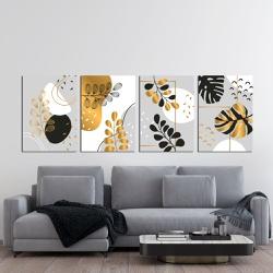 Kit 4 Placas Decorativas Folhas Douradas - Q! Bacana