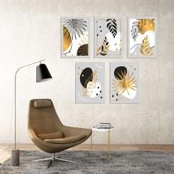 Kit 5 Placas Decorativas Folhas Douradas - Q! Bacana