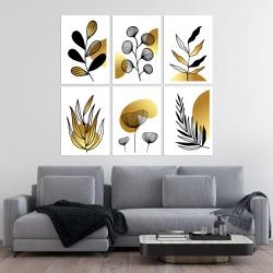 Kit Quadros Decorativos Folhas Douradas - Q! Bacana