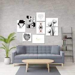 Kit 8 Placas Decorativas Nórdico Preto e Branco - Q! Bacana
