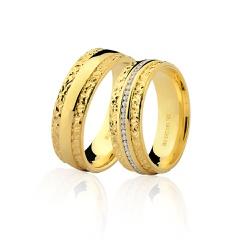 Alianças de Noivado e Casamento em Ouro 18K Com Br... - RDJ JÓIAS